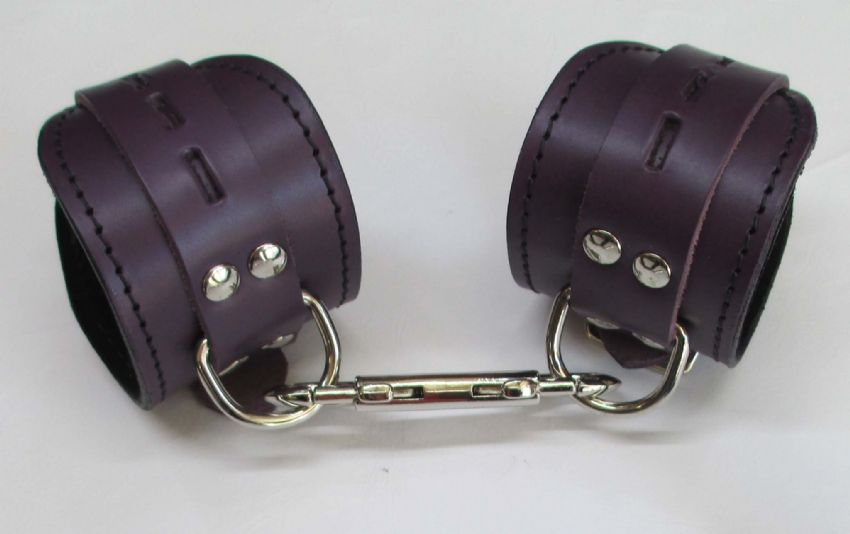 leather restraint wrist ankle restraint cuffs, locking cuffs, purple leather cuffs, restraints,